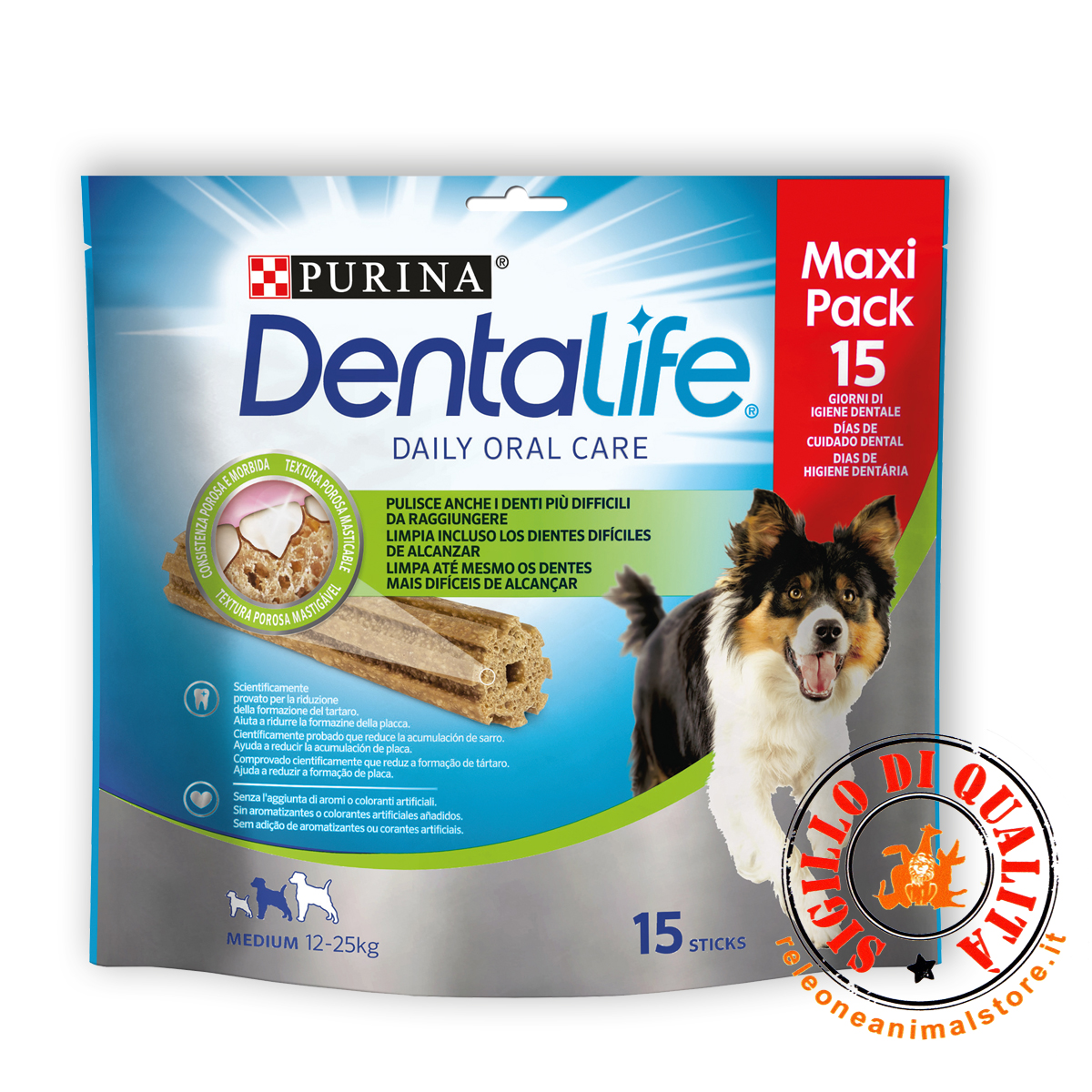DENTALIFE Multipack Cane Snack per l'igiene orale Taglia Medium 345 g 15 stick