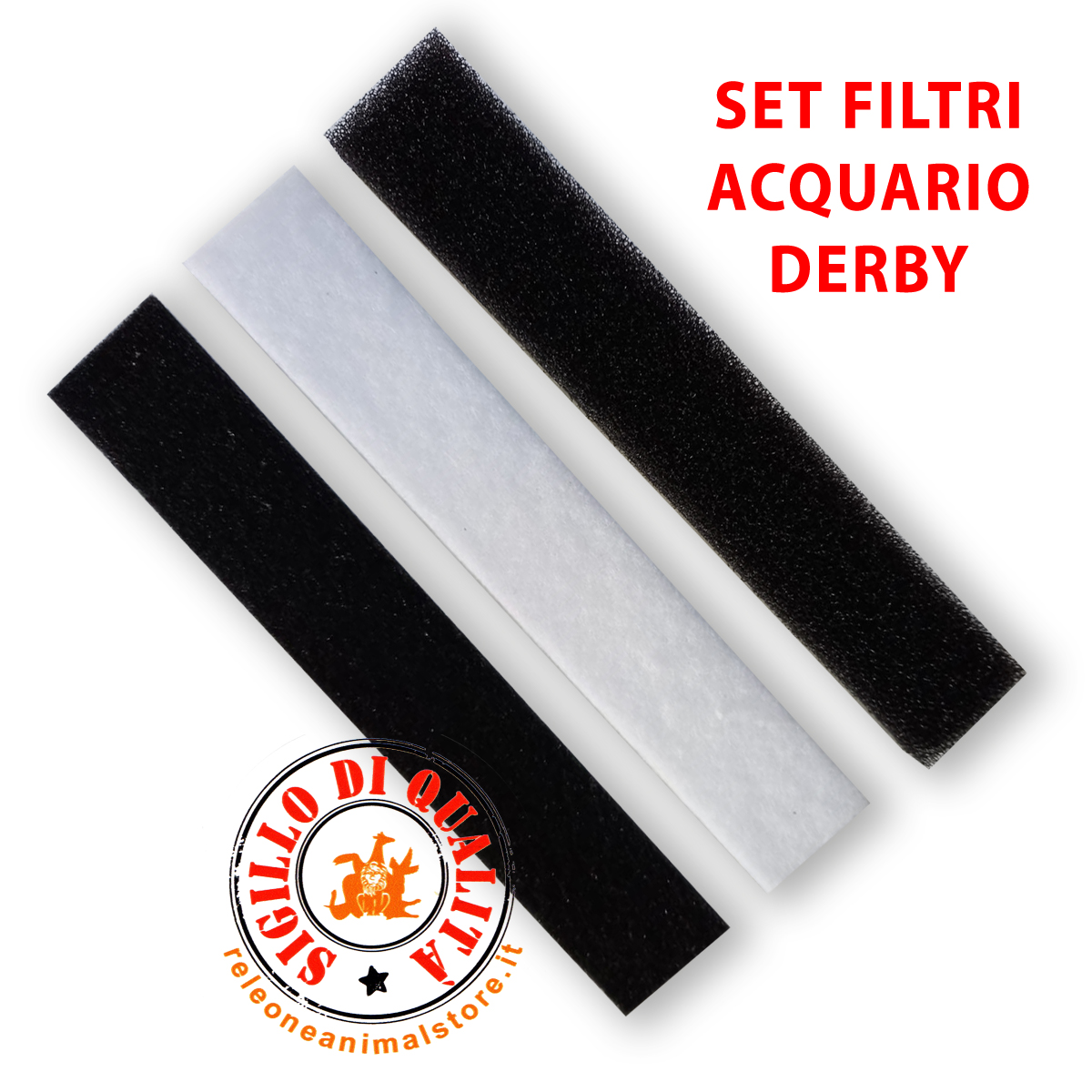 Set materiale filtrante per Acquario Derby - filtro, spugna, carbone